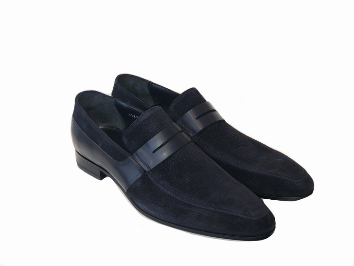 Corrente 4127- printed suede loafer Dark Navy