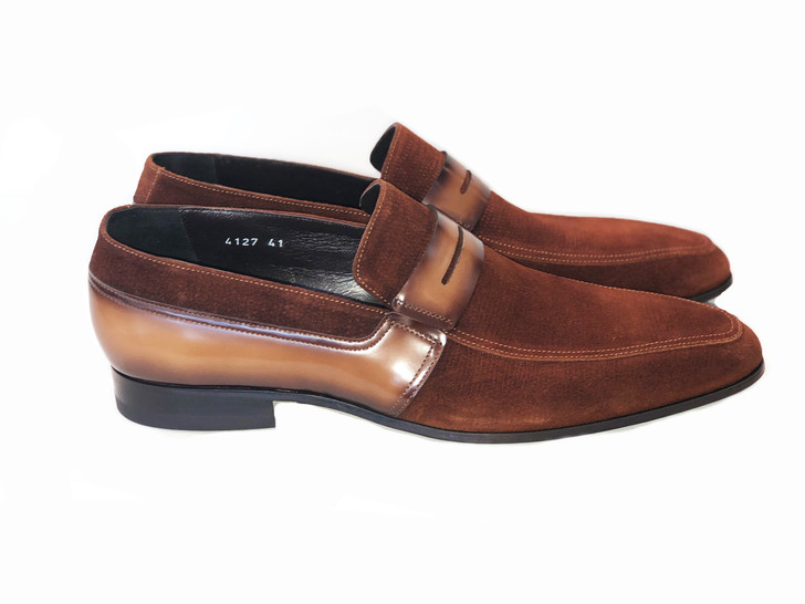 Corrente 4127- printed suede loafer Tan