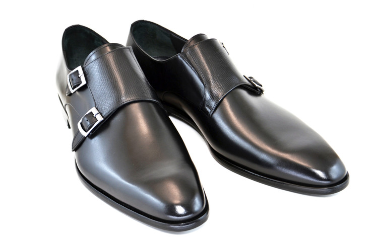 Corrente 5235- Double monk strap - Black