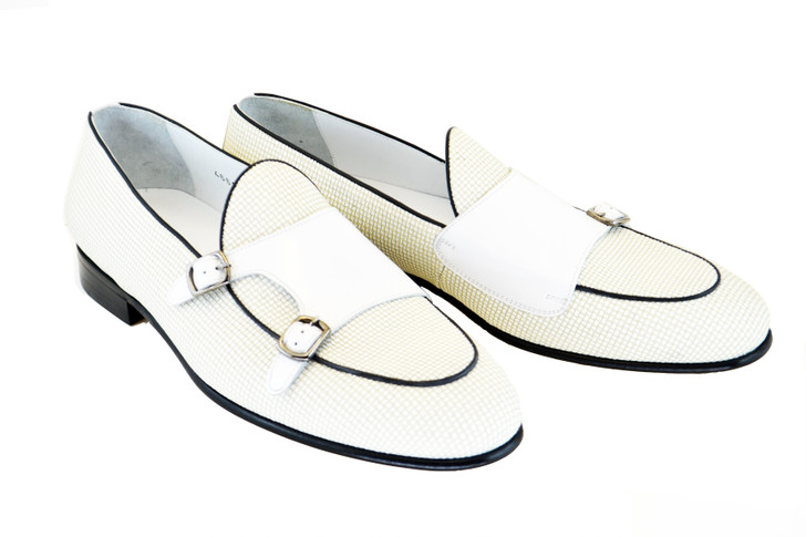 Corrente 4661 -Double monk strap vamp - White