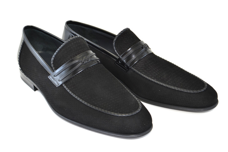 Corrente 3417HS- Perforated suede loafer- Black