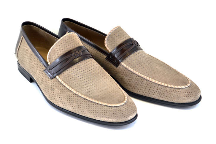 Corrente 3417HS- Perforated suede loafer- Taupe