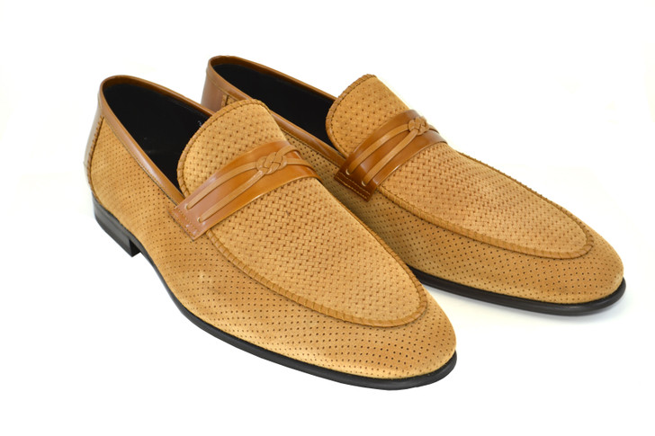 Corrente 3417HS- Perforated suede loafer- Tan