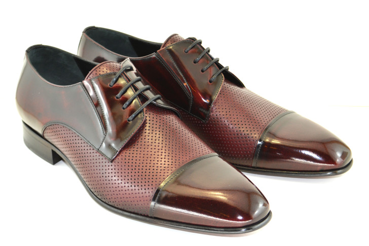 Corrente 4745 Perforated Cap toe Lace up-Burgundy