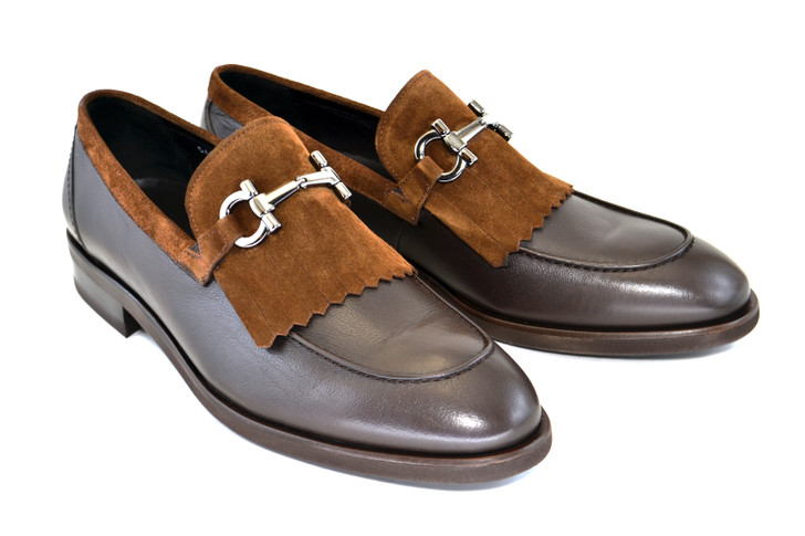 Corrente 5454HS- Kiltie Buckle loafer- Brown