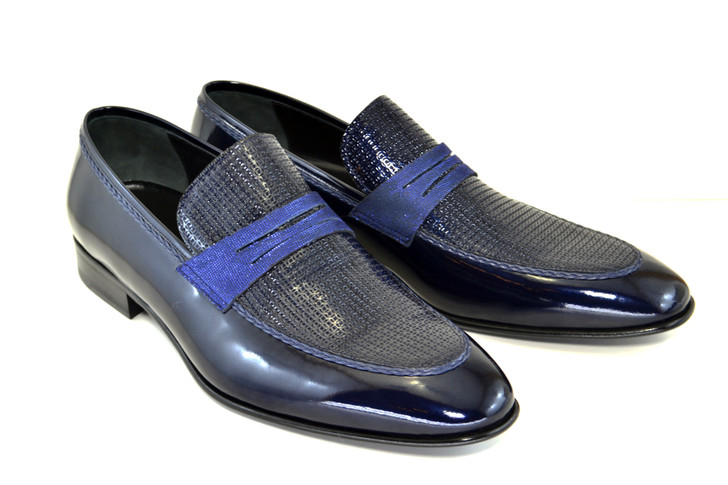 Corrente 3711HS- Patent Leather penny loafer- Navy