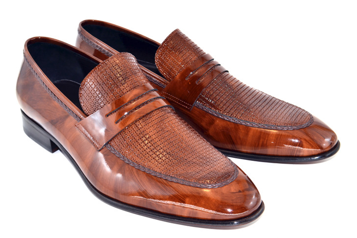 Corrente 3711HS- Patent Leather penny loafer- Brown