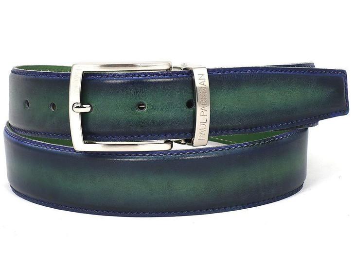 PAUL PARKMAN Men's Leather Belt Dual Tone Blue & Green (ID#B01-BLU-GRN)