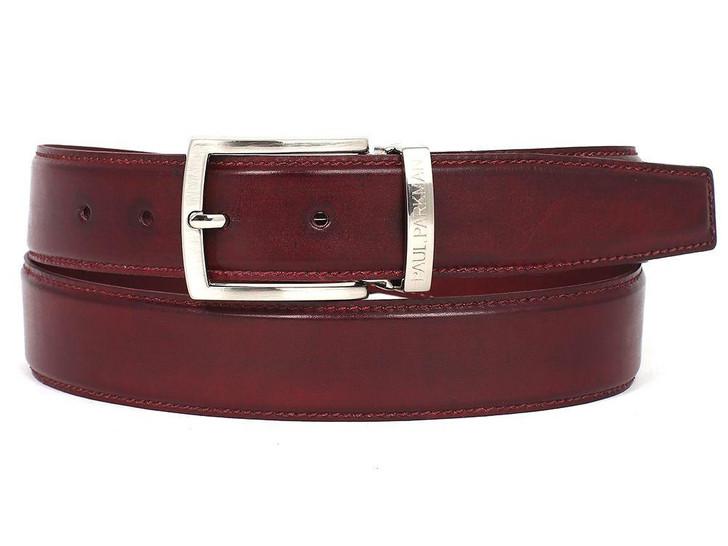 PAUL PARKMAN Men's Leather Belt Hand-Painted Bordeaux (ID#B01-BRD)