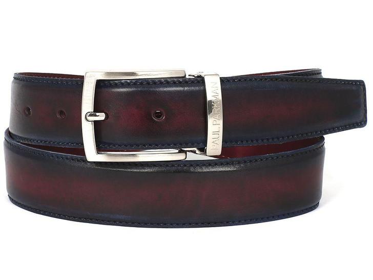 PAUL PARKMAN Men's Leather Belt Dual Tone Navy & Bordeaux (ID#B01-NVY-BRD)