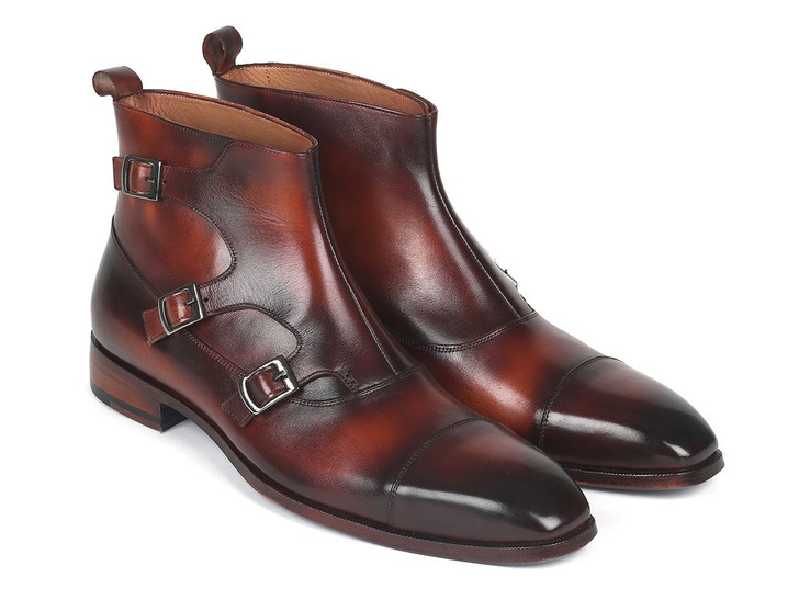 Paul Parkman Triple Monkstrap Boots Brown Leather (ID#88951-BRW)