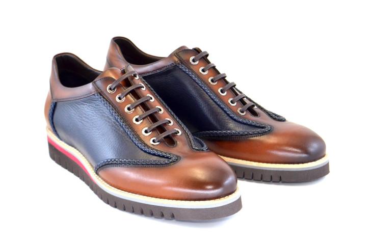 Corrente 4002 Fashion Sneaker- Brown-Navy