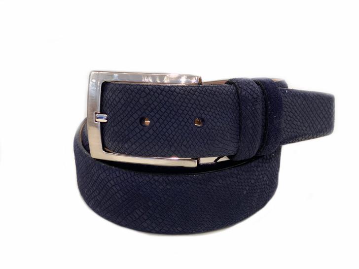 Corrente Men's Leather Belt - Navy Suede