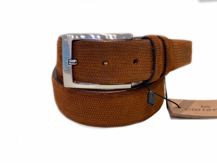 Corrente Men's Leather Belt - Tan Suede