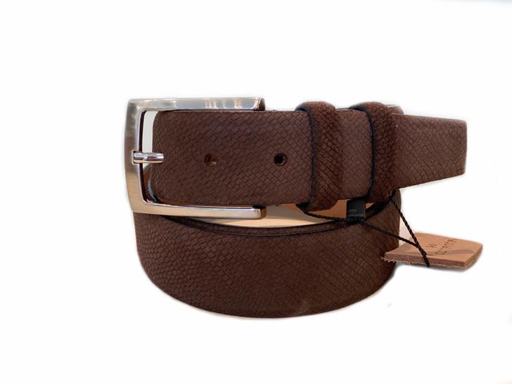 Corrente Men's Leather Belt - Brown Suede