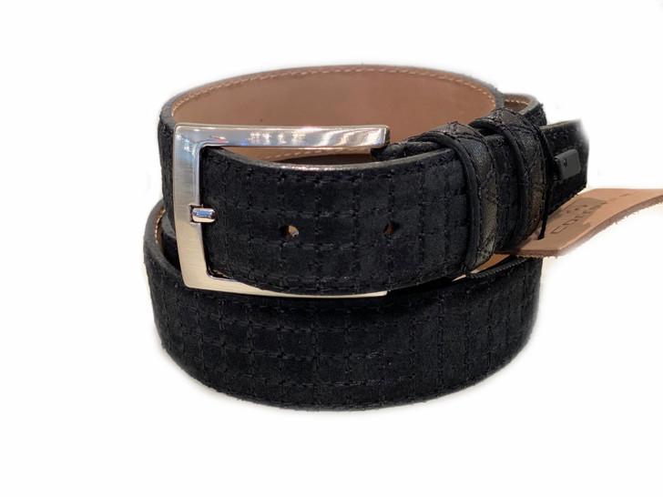 Corrente Men's Leather Belt 2220- Black Suede
