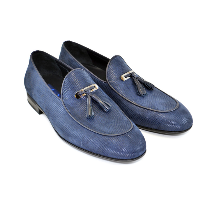 Corrente 5000- printed suede tassel  loafer Dark Navy