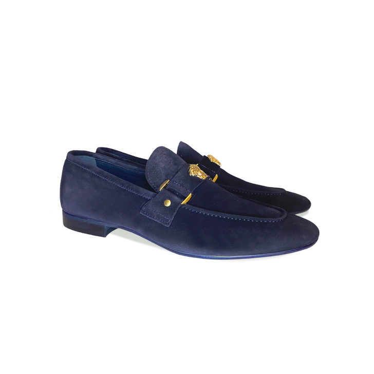 Pelle Line Exclusive 5229 Loafer with Medusa ornament- Navy Suede