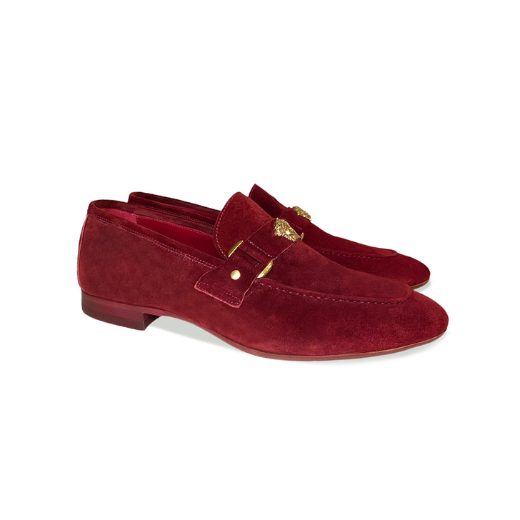 Pelle Line Exclusive 5229 Loafer with Medusa ornament- Cherry Suede