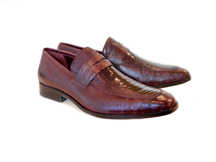 Pelle Line Exclusive Conor Ostrich Quilt and Ostrich leg loafer- Burgundy