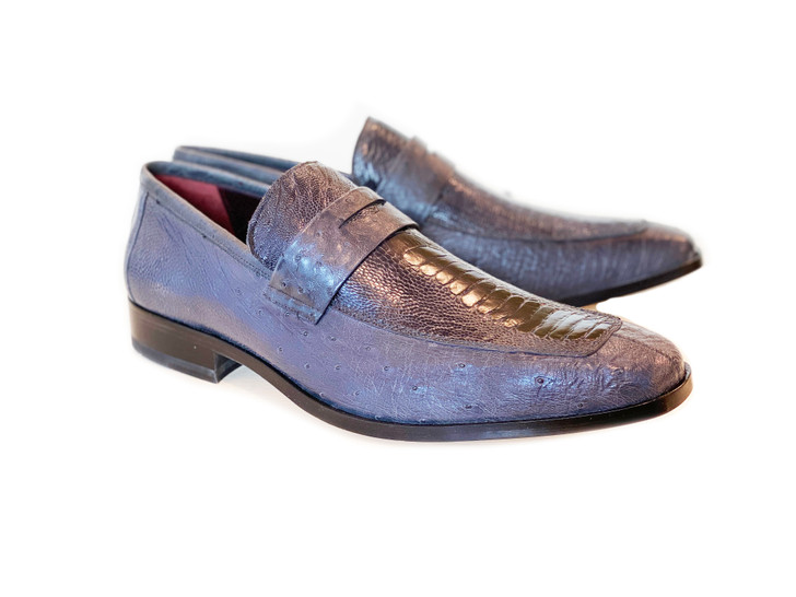 Pelle Line Exclusive Conor Ostrich Quilt and Ostrich leg loafer- Grey