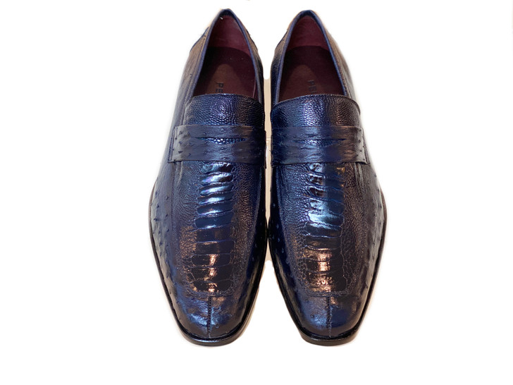 Pelle Line Exclusive Conor Ostrich Quilt and Ostrich leg loafer- Navy