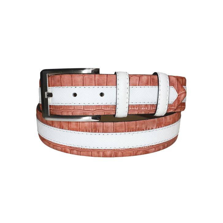 Corrente Men's Leather Belt - 4005HS White-Rust