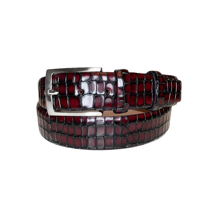 Corrente Men's Leather Belt - 3470 Burgundy