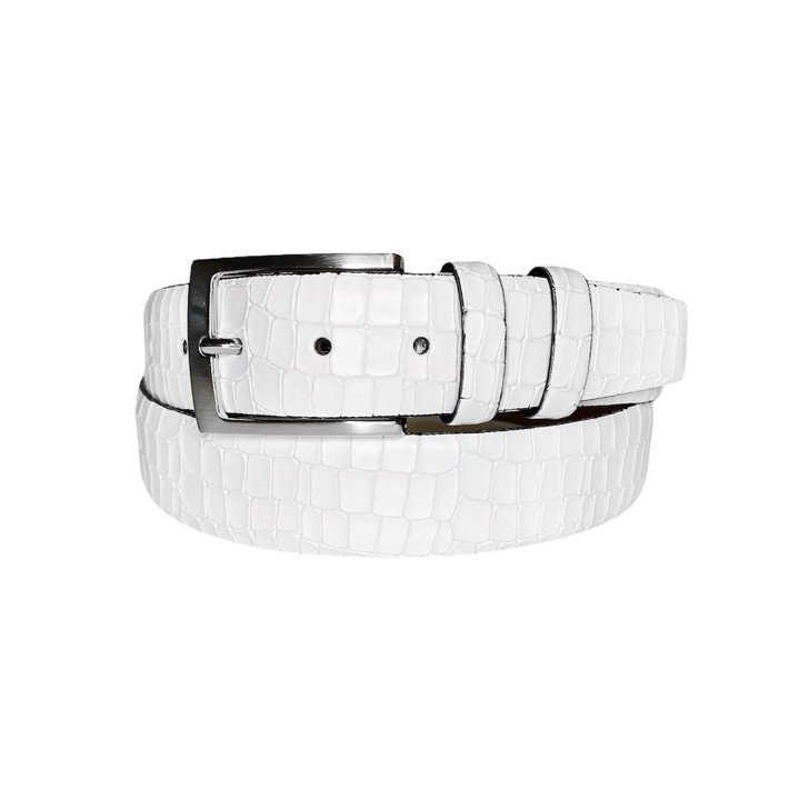 Corrente Men's Leather Belt - 3470 White