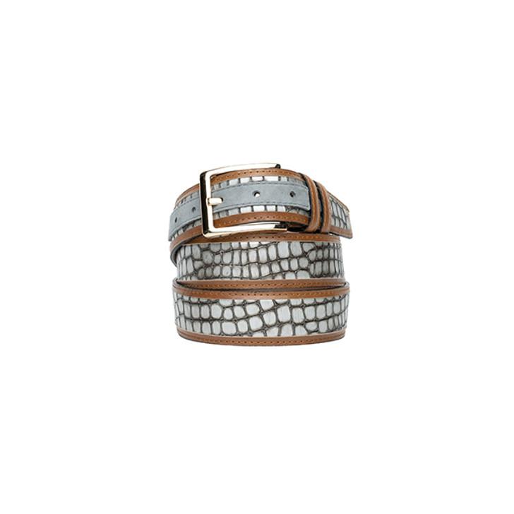 Corrente Men's Leather Belt - 5827 Silver