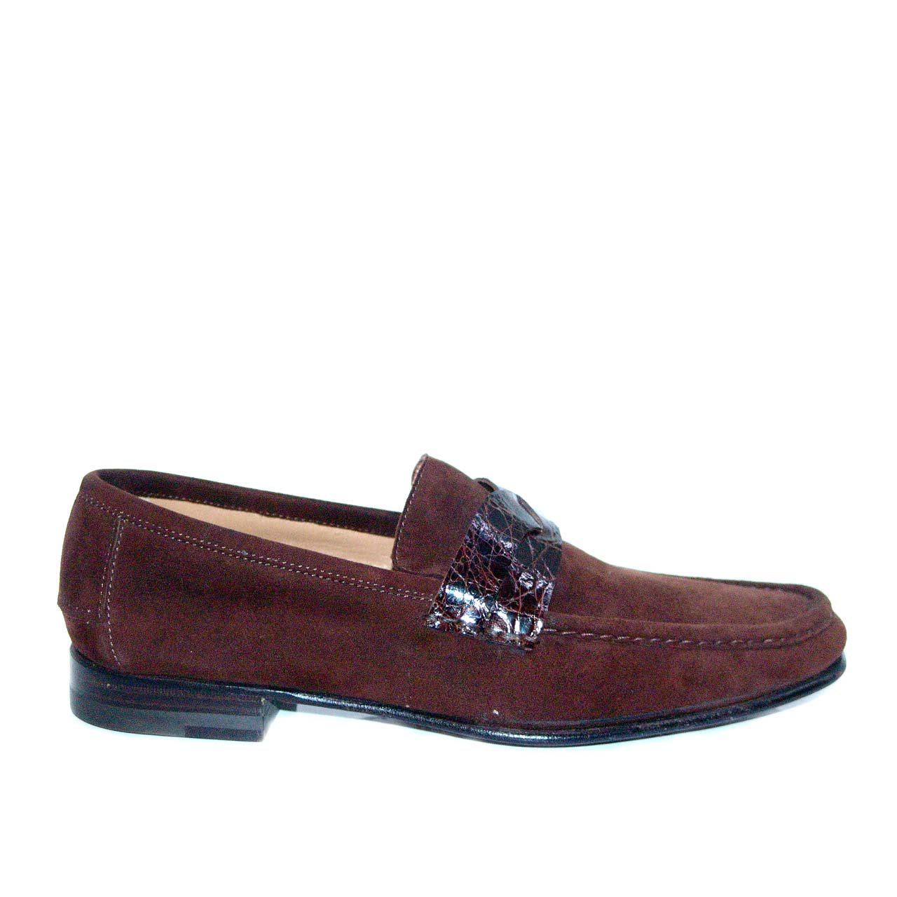 Lorenzo Banfi Suede Loafer Crocodile Vamp 671 Brown FINAL SALE