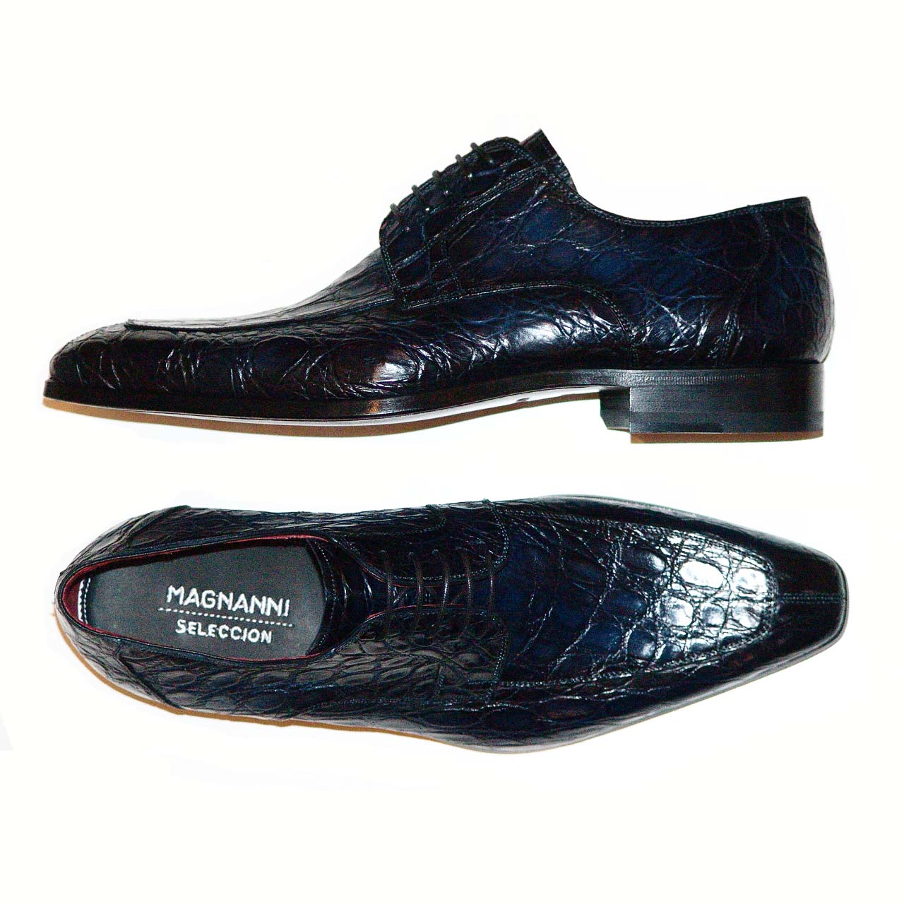 Magnanni Pascual Hand Burnished Antiqued Genuine Crocodile Navy