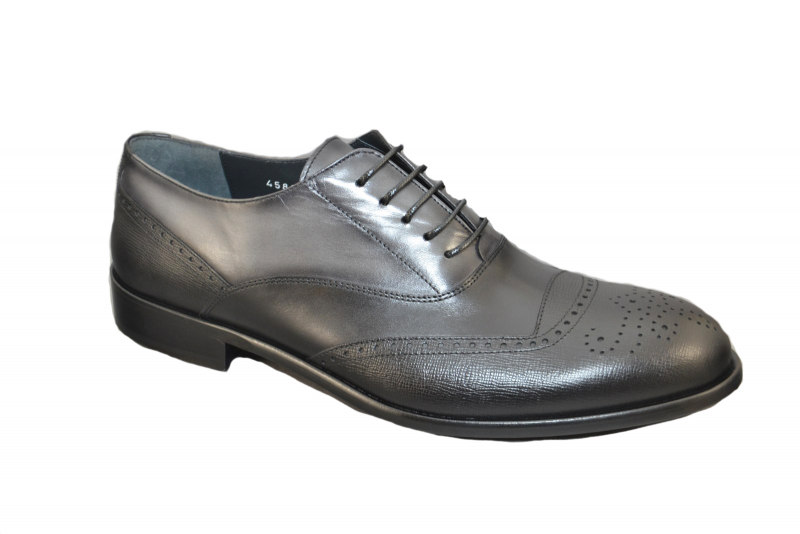 Corrente 4583 Perforated toe Lace up  -Black-Grey