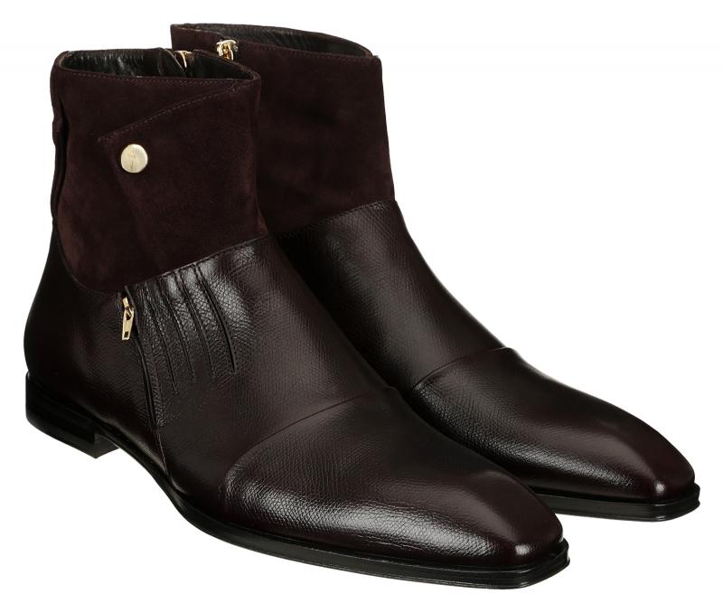 Cesare Paciotti 48203 Suede & Leather Zipper Boot, Bordo