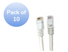 Category 6 UTP RJ45 Patch Cable White - 1ft (10 pack)