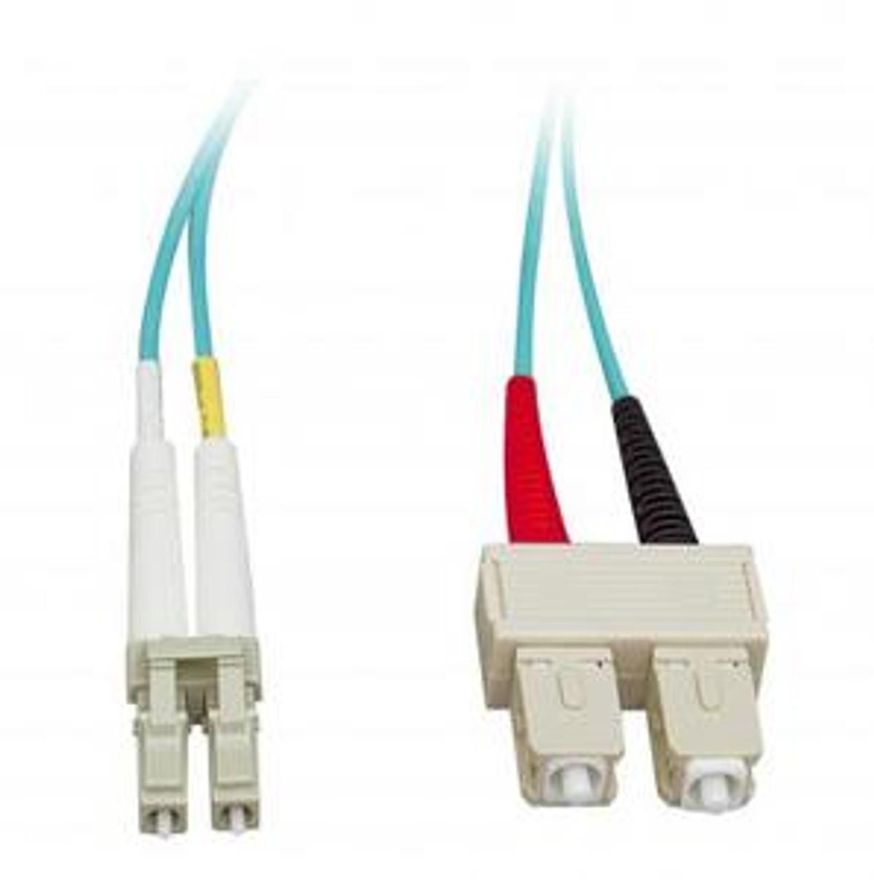 Multi Mode Duplex 50/125 LC to SC 10Gb Aqua Fiber Cable - 3M