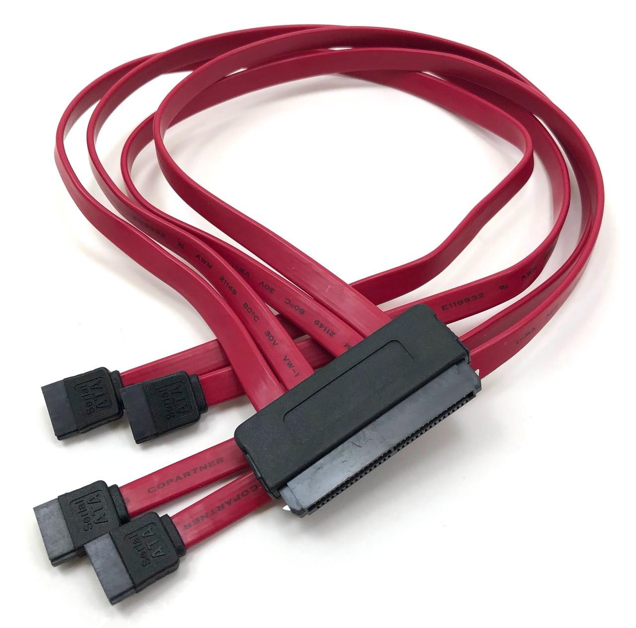 SAS Controller to SAS /SATA Backplane and SATA Disk Drive Cable (SFF-8484 to SATA (4) X 1). SATA III (6Gb) compliant