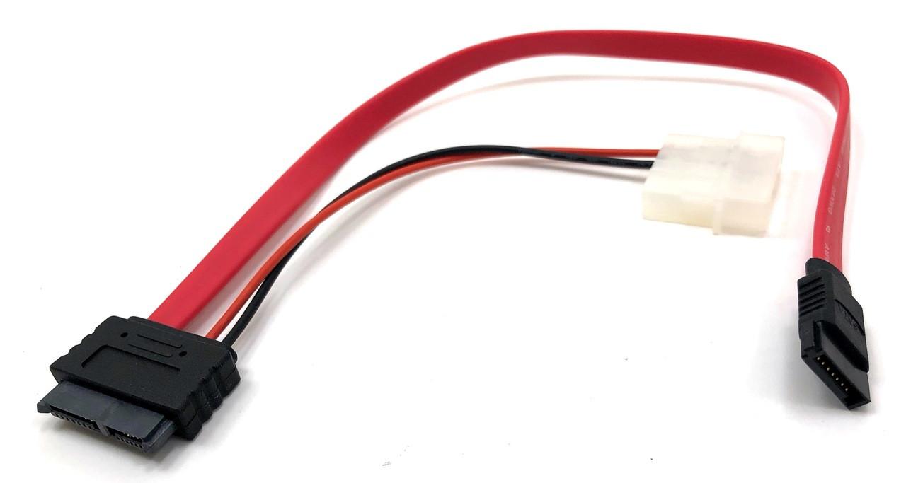 "Micro Connectors, Inc. 12"" SLIMLINE SATA TO SATA+PWR (SATA III 6Gb Compliant)"