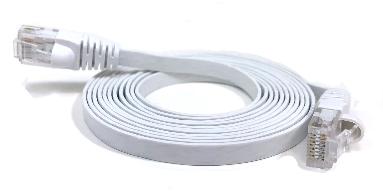 Category 6 UTP RJ45 Flat Patch Cable White - 7 ft