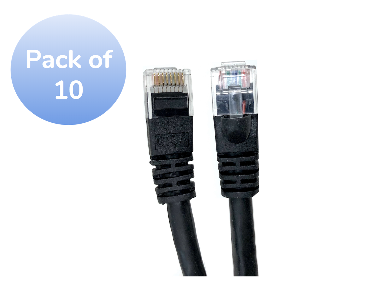 Category 6 UTP RJ45 Patch Cable Black - 1ft (10 Pack)
