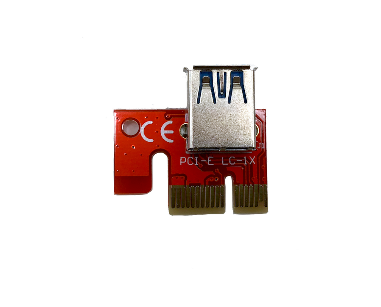 PCIe 4-Pin 16x to 1x Powered Riser Adapter Card (Red)
