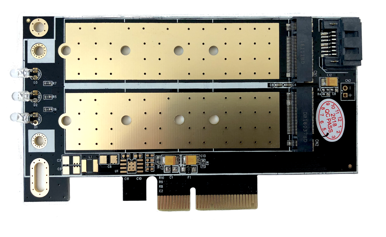 M.2 NVMe + M.2 SATA 80mm SSD PCIe x4 Adapter with Heat Sink
