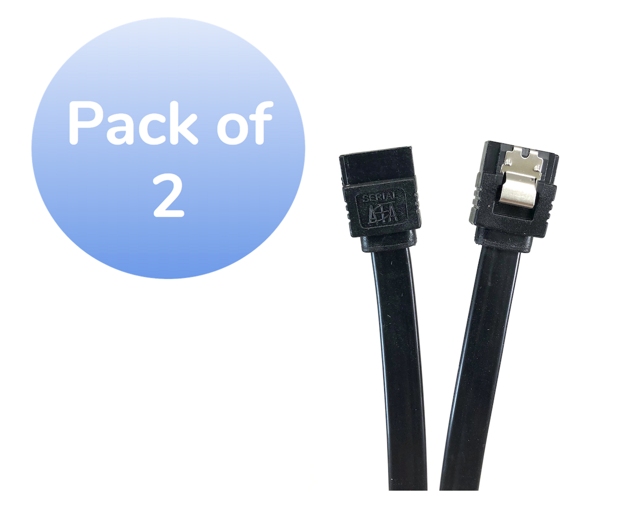 "20"" SATA III 6 GB/s Straight Cable w/Locking Latch - 2 Pack - Black"
