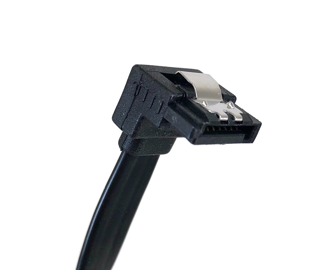 """20"""" SATA III 6 GB/s 180° (Straight) to 90° (Right Angle) Cable w/Locking Latch - Black"""