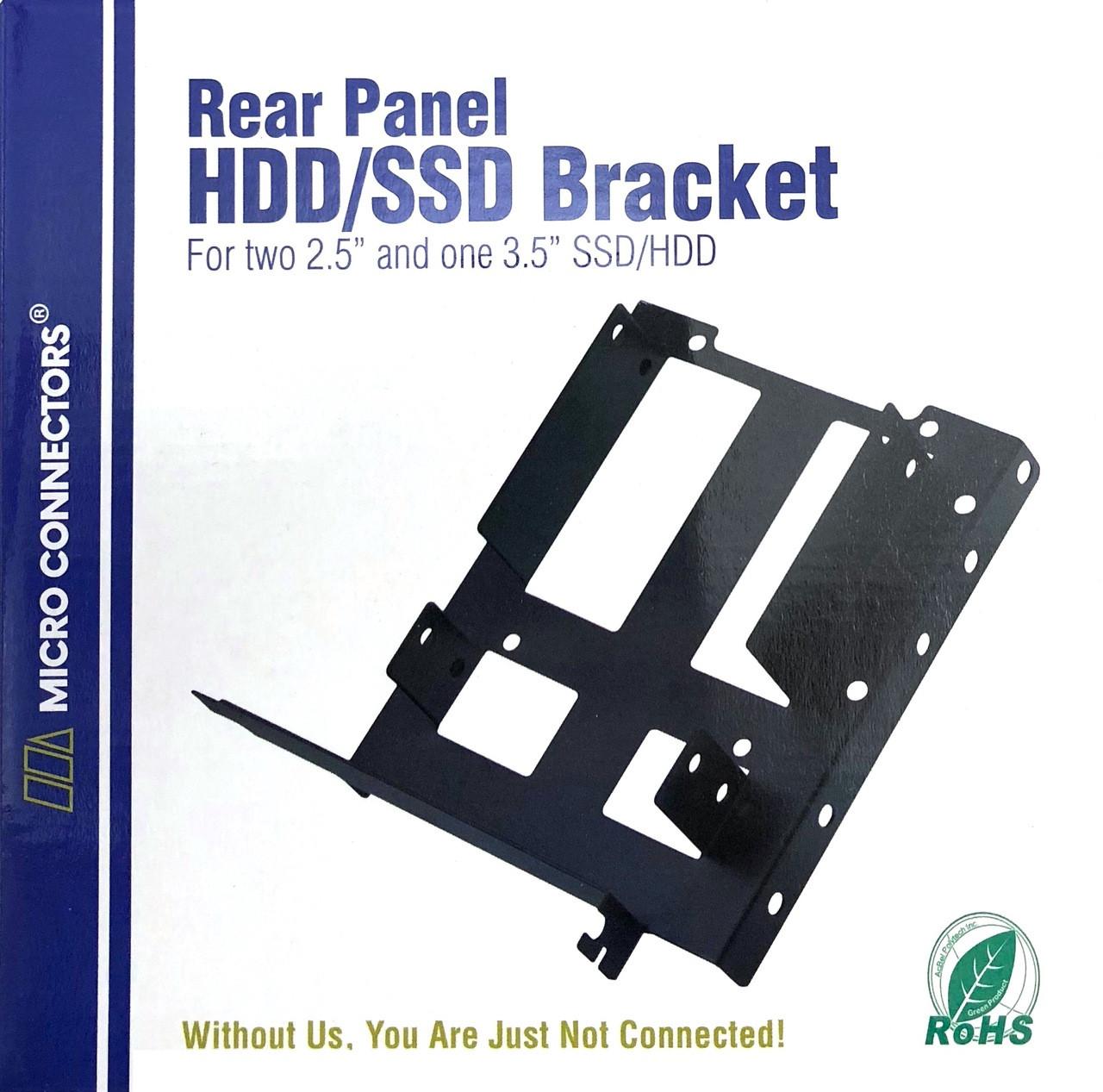 """Rear Panel Dual 2.5""""/Single 3.5"""" Metal HDD/SSD Mounting Bracket Kit"""