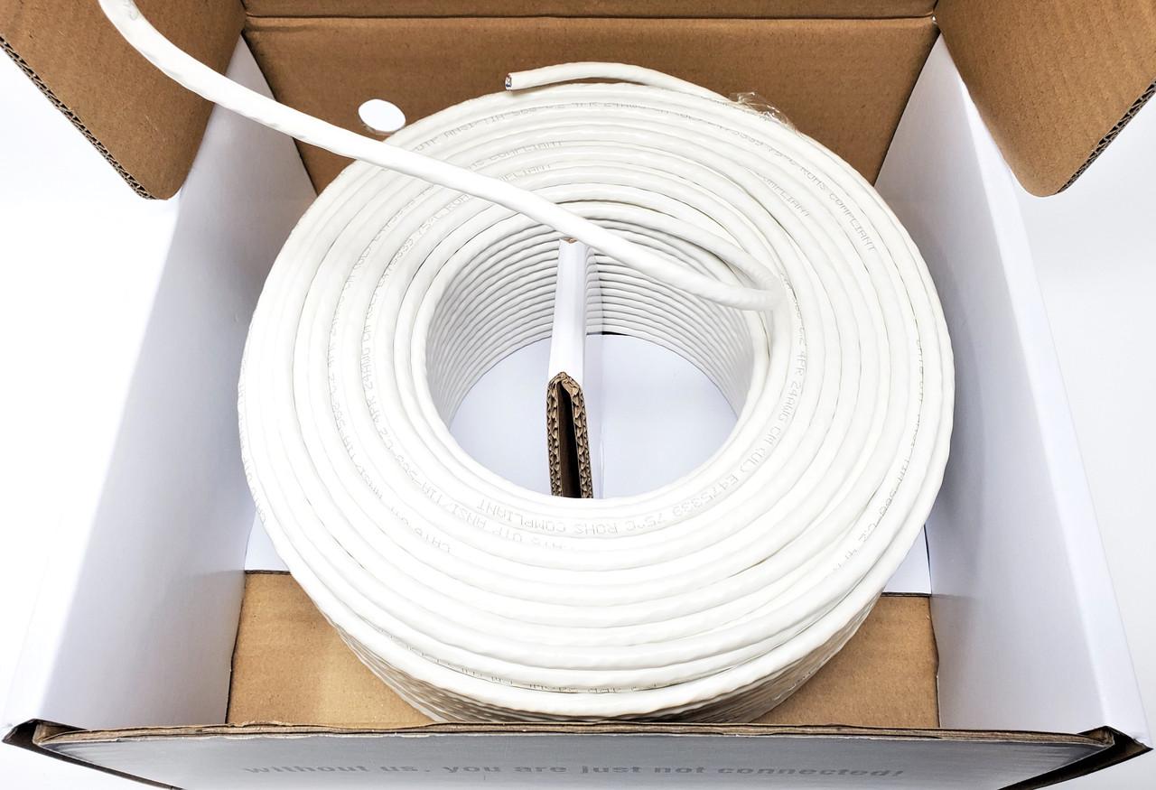 100 Meter (328 ft) Cat6 Solid UTP Bulk Ethernet 24AWG Cable (White)