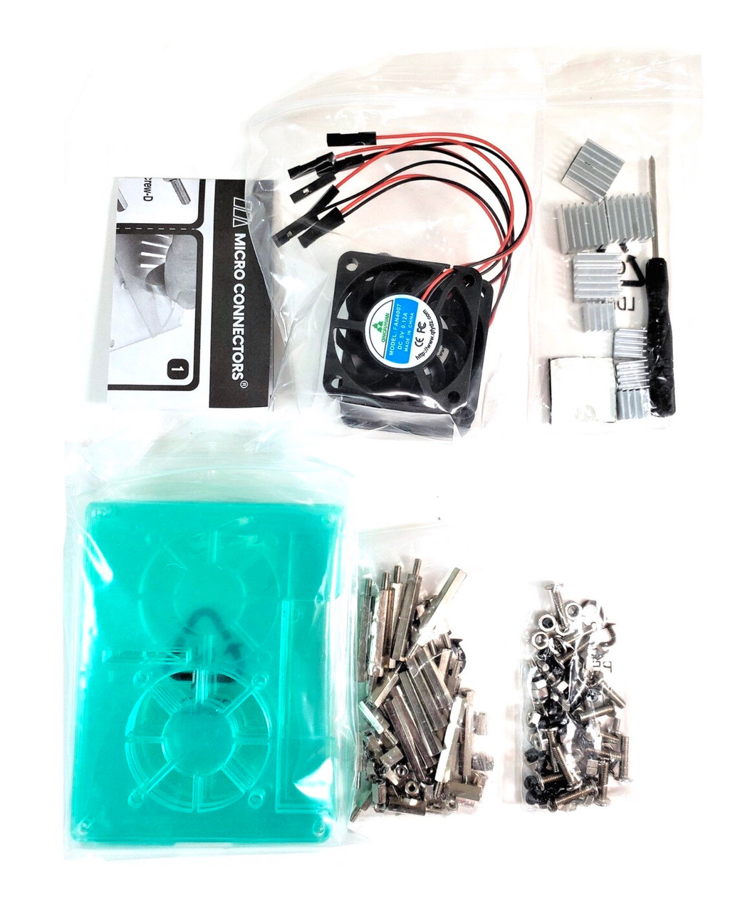 Four (4) Layer Stackable Clear Acrylic Raspberry Pi Case with Fans and Heatsinks