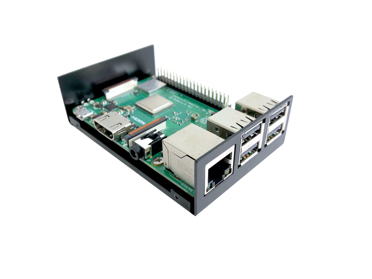 Aluminum Raspberry Pi 3 Case for Model B/B+ with UL Approved On/Off Switch 5V/2.5A Power Adapter - Black