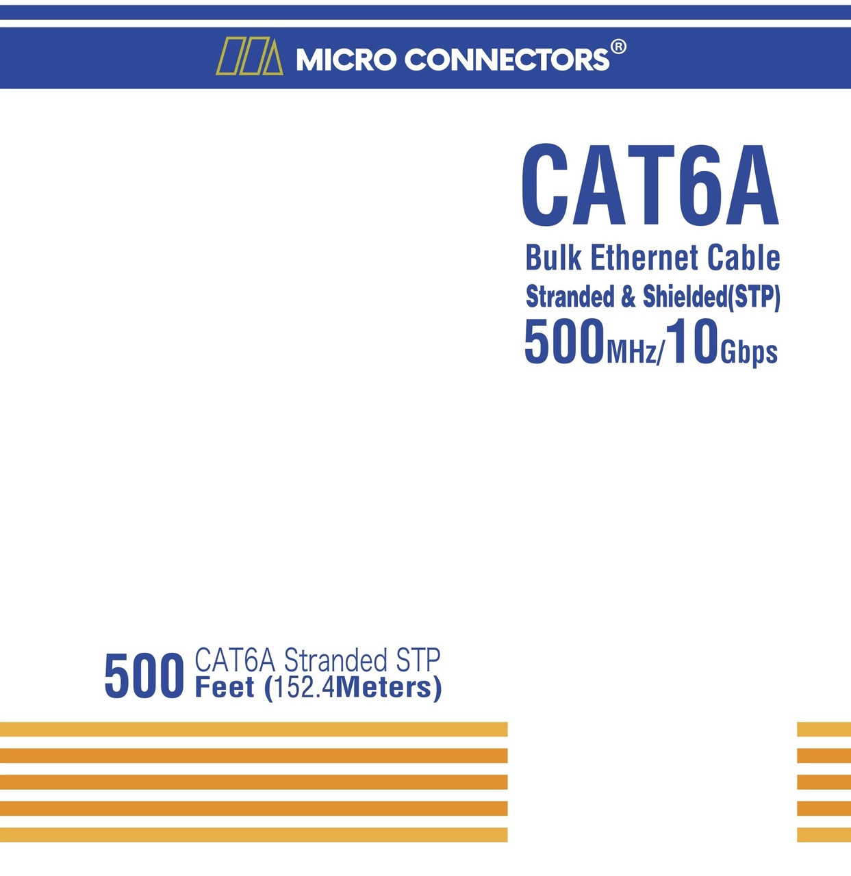 CAT 6A Stranded STP Bulk Ethernet Cable Blue - 500 ft box