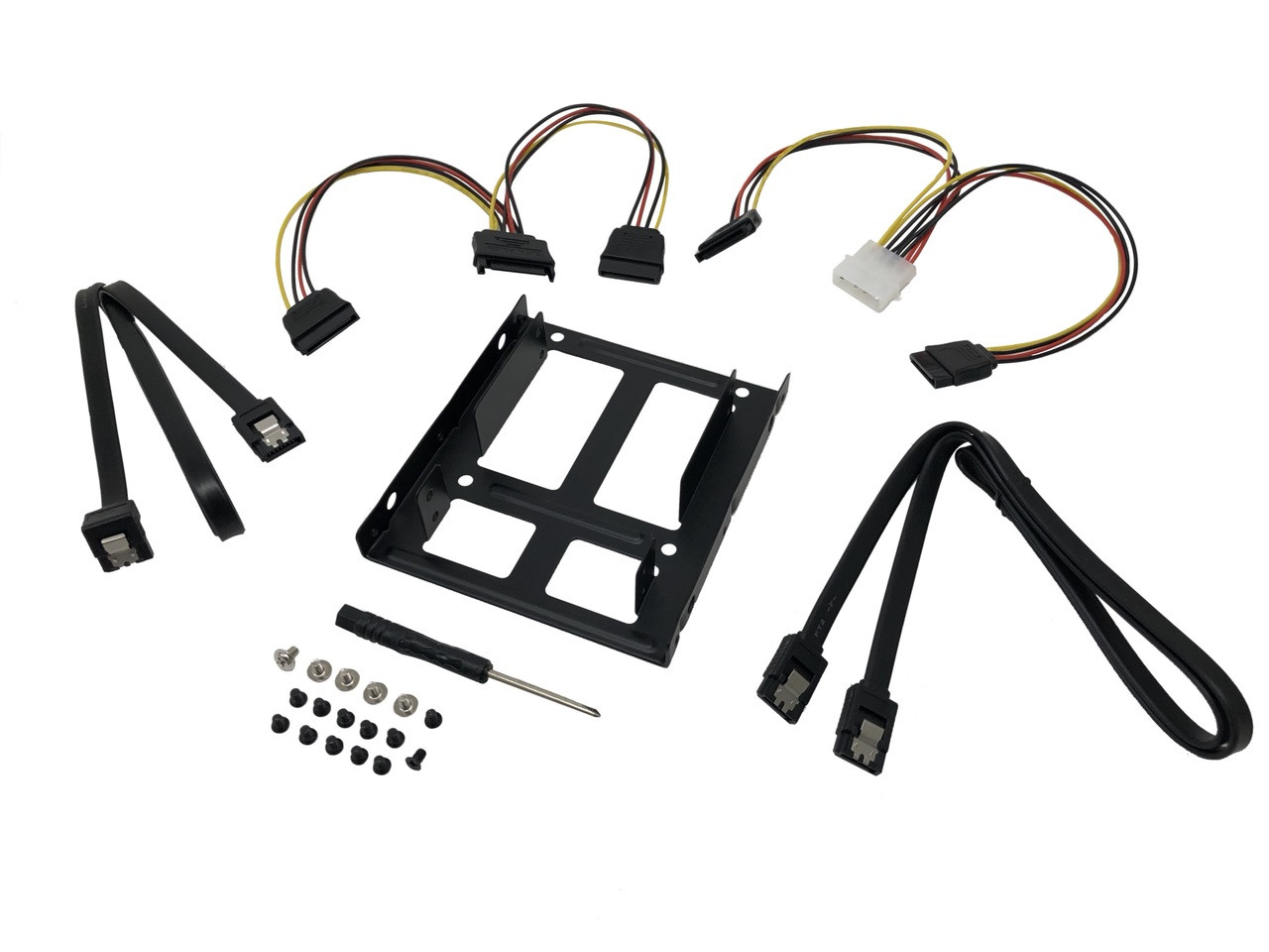 "2.5"" SSD/Hard Drive Installation Kit For Two (2) 2.5"" SSD/HDD to 3.5"" Drive Bay with SATA Data and Power Cables"